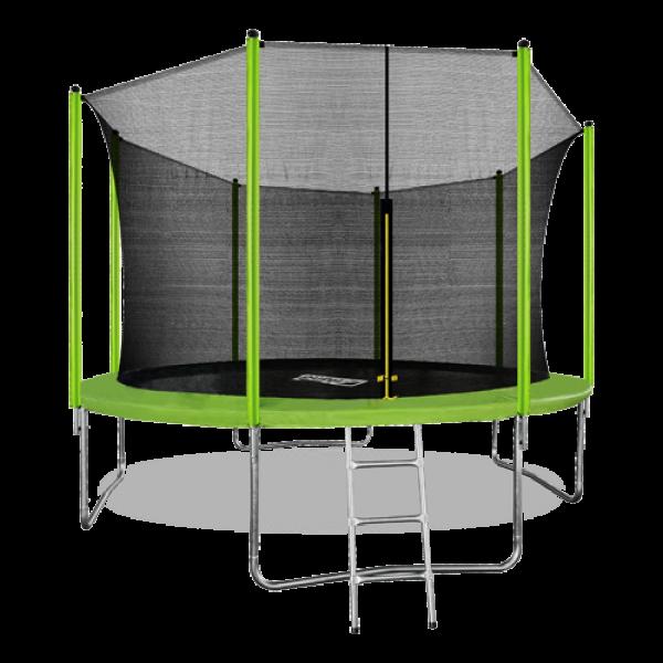 Батут ARLAND 12FT с внутренней страховочной сеткой и лестницей (Light green)