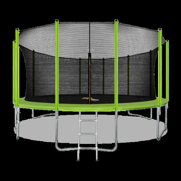 Батут ARLAND 16FT с внутренней страховочной сеткой и лестницей (Light green)